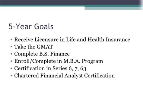 Mba In Insurance And Financial Planning by Five Year Marketing Plan Presentation
