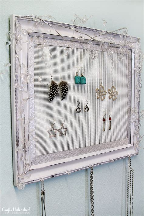 how to make jewelry organizer shabby chic plastic canvas diy jewelry organizer