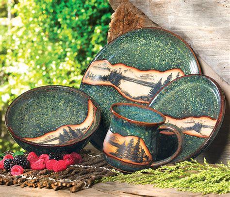 mountain scene pottery dinnerware pcs