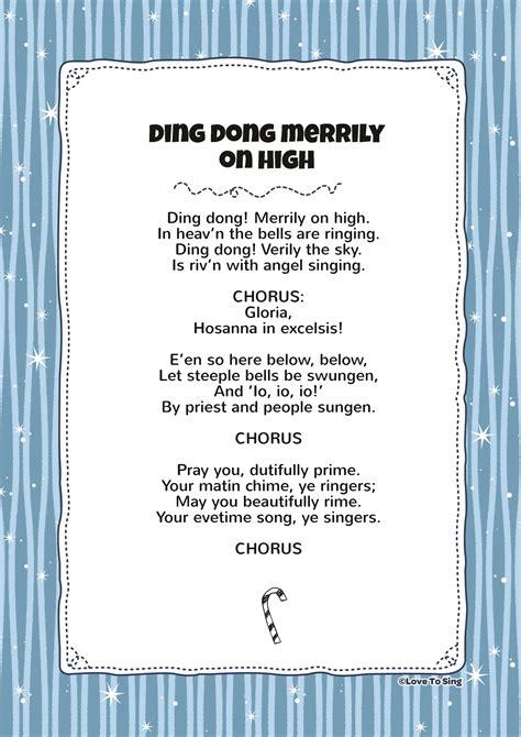 printable lyrics for ding dong merrily on high ding dong merrily on high kids video song with free