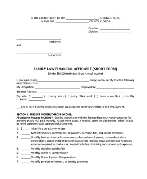 financial affidavit 9 sle financial affidavit forms sle exle format