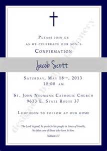 confirmation invitation or announcment boy navy and charcoal