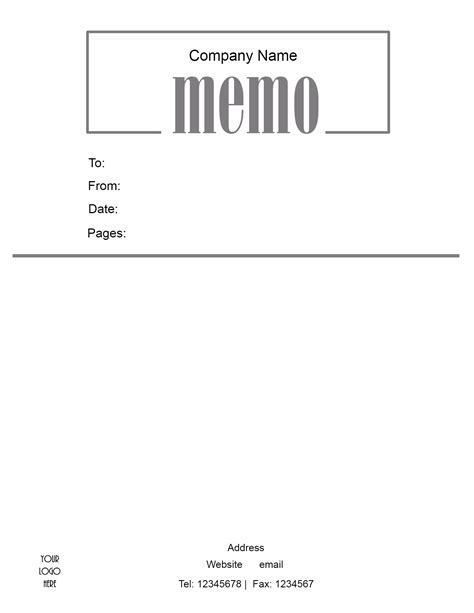 Memo Template With Logo Free Microsoft Word Memo Template