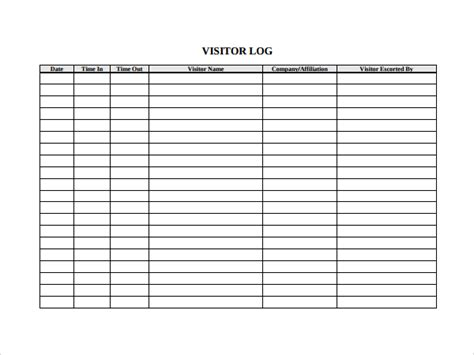 visitors log book template sle visitors log template 9 free documents in pdf word