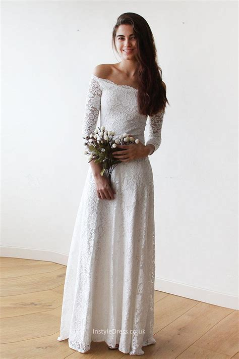 Floor Length Wedding Dress by The Shoulder Lace Wedding Gown