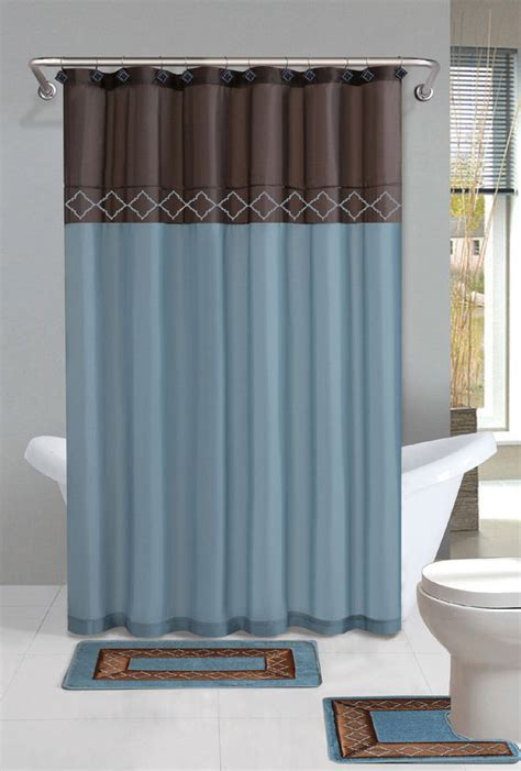 Bathroom Curtain And Rug Sets Brown Blue Modern Shower Curtain 15 Pcs Bath Rug Mat Contour Hooks Bathroom Set Ebay