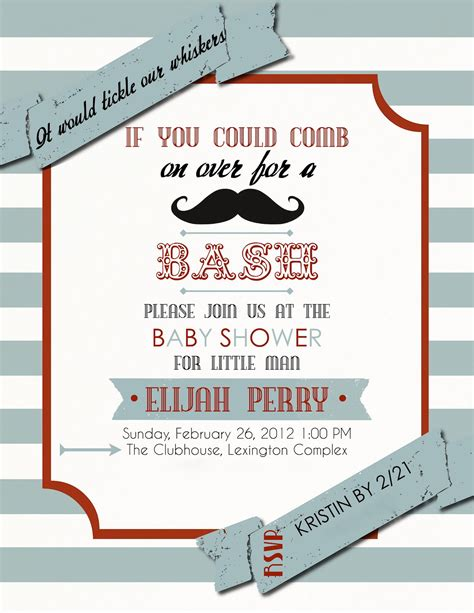 Mustache Baby Shower Invitations Mustache Baby Shower Invitations Free Templates