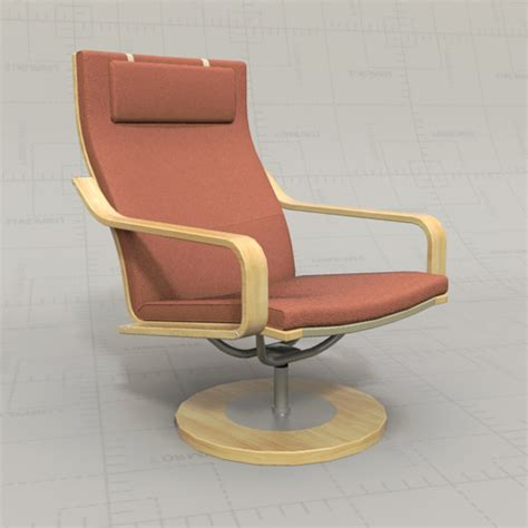 Ikea Poang Chairs 3d Model Formfonts 3d Models Textures Poang Swivel Chair