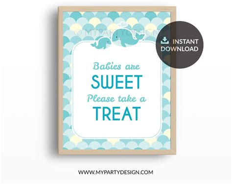 Turquoise Baby Shower by Whale Baby Shower Turquoise Printable Take A Treat Sign