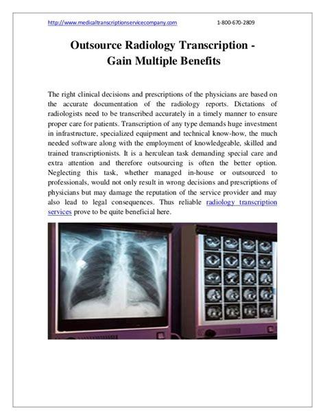 outsource radiology transcription gain benefits