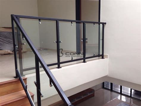 Tempered Glass Railing mild steel staircase glass staircase staircase railing with glass 12mm tempered glass staircase