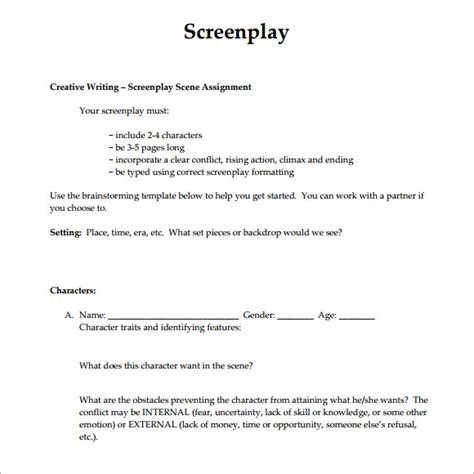 script format template screenplay format template template business
