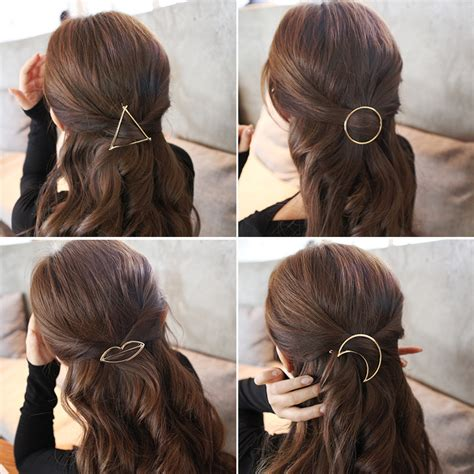 Ponytail Hairstyles Accessories by Metal Ponytail Holder With Different Shape Hairclips
