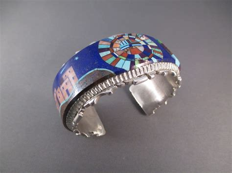 R6160 Sterling Silver & Lapis Inlay Cuff Bracelet by Native American Navajo Indian jewelry