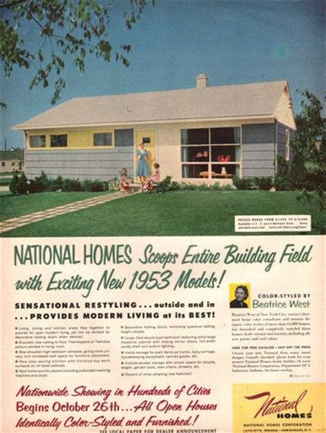 ad house plans 1952 53 national homes print ad mid century house model
