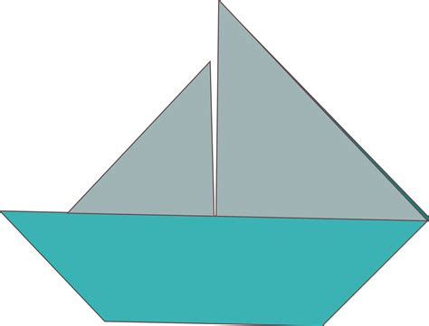 Origami Catamaran - clipart origami sailboat