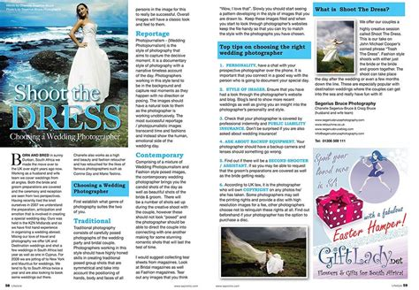 Wedding Articles In Magazines by Wedding Photography Feature In Sa Promo Magazine