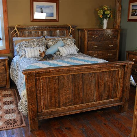 rough bed buckboard rough cut rustic bed in king queen size