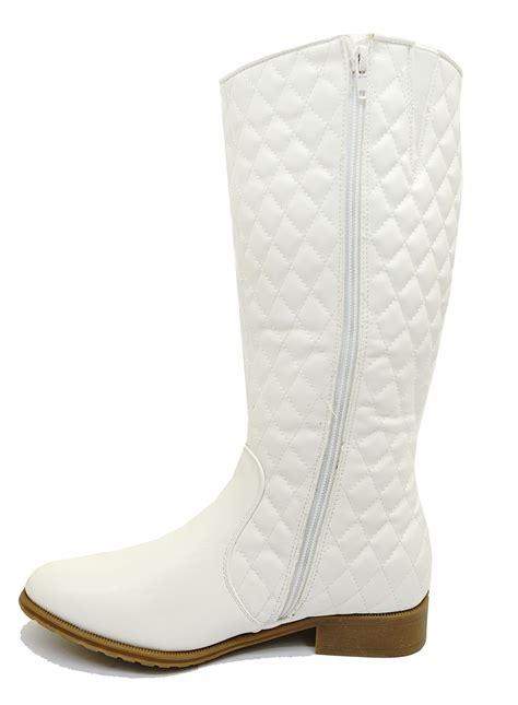 white biker boots white biker knee high cowboy zip up