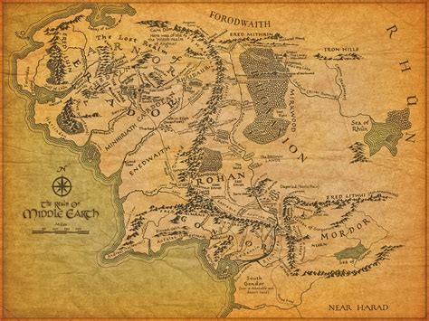 lord of rings map map of middle earth from lord of the rings