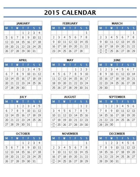 2015 calendar template printable 2015 calendar on one page