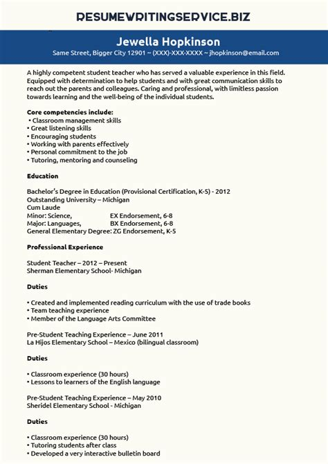 Preschool Teacher Resume Samples by Student Teacher Resume Sample