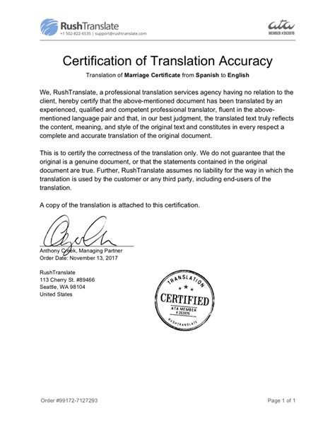 certificate translation template certified birth certificate translation rushtranslate