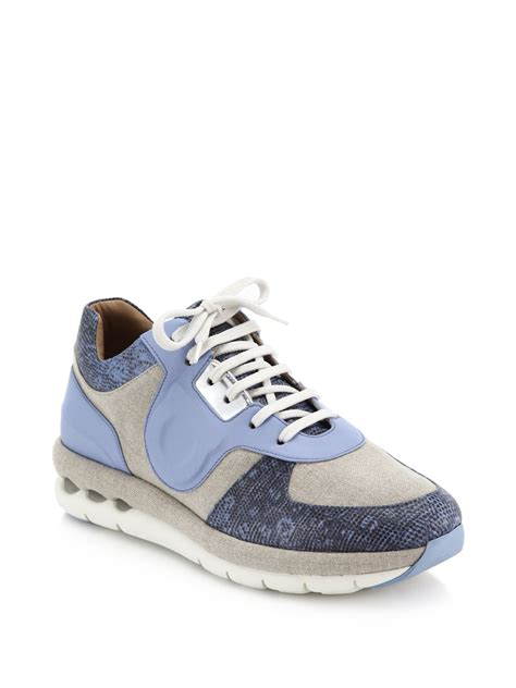 ferragamo sneaker ferragamo leather lizard embossed leather linen