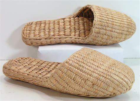 grass slippers basket weave shoes womens 7 straw grass handmade woven