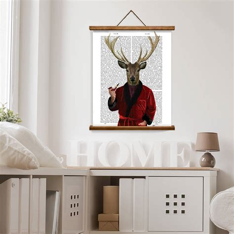 deer home decor deer print deer in jacket by fabfunky home decor notonthehighstreet