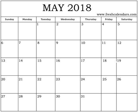 printable calendar specific dates may 2018 printable calendar templates