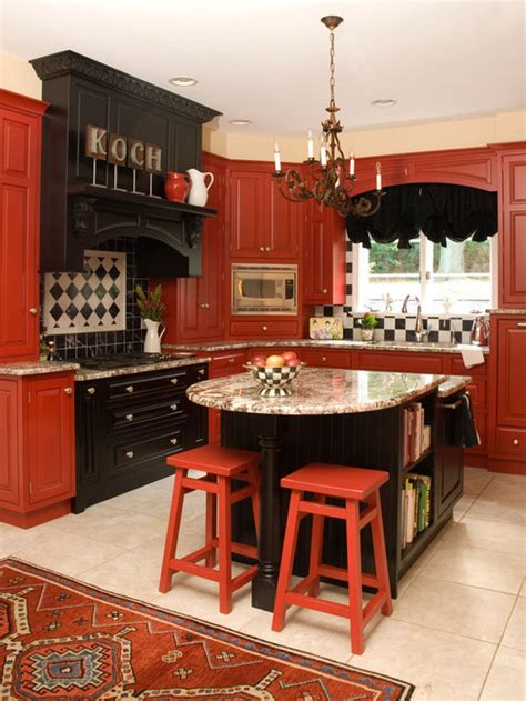 red  black kitchen home design ideas pictures remodel