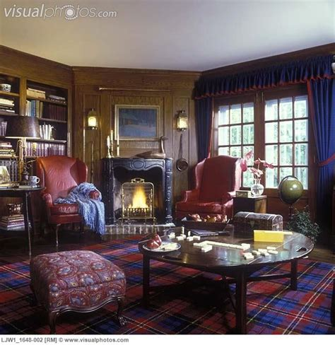 plaid living room furniture living rooms with plaid curtains with trim leather wing chairs and blue