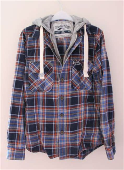 Ready Gan Jaket Hooded Zip Casual Knit details about drift king xs blue check plaid flannel