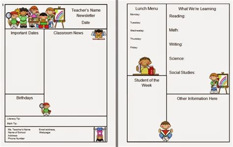 free templates for newsletters for teachers warren sparrow classroom newsletter template