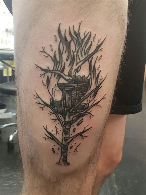 burning treehouse by joseph harper parliament tattoo