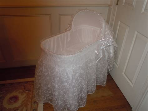 Handmade Bassinet - custom designed bassinet white bridal veil cover