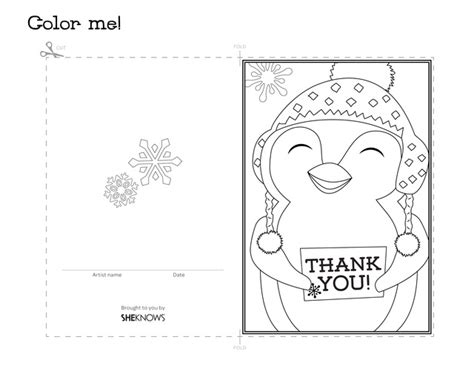 Printable Thank You Cards To Colour In | penguin holiday thank you card free printable coloring pages