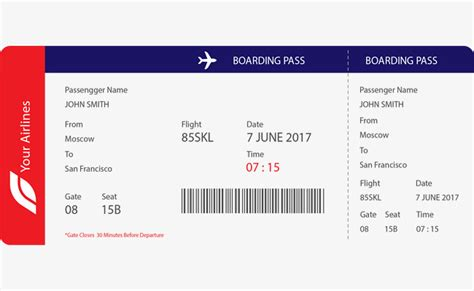 blue red boarding pass template blue red boarding pass