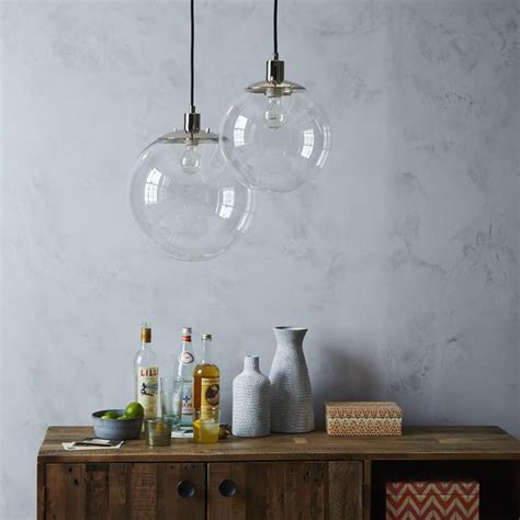 globe pendant light clear globe ceiling l clear west elm uk