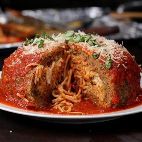 giant spaghetti stuffed meatball recipe  tasty