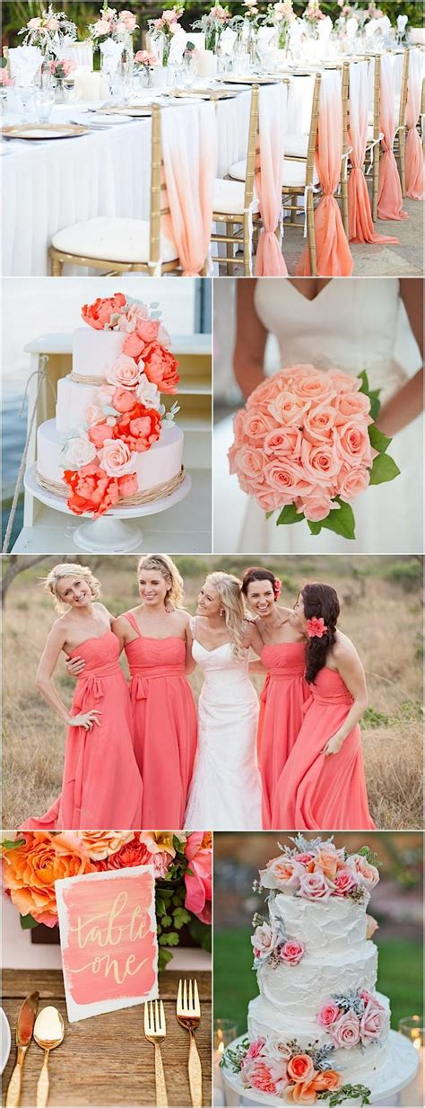 color inspiration coral and gold wedding ideas modwedding