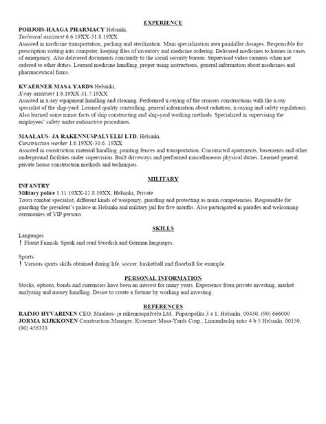 Written Resume by Sle Of A Written Curriculum Vitae Letters Free