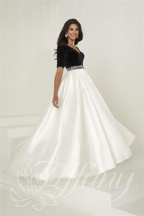 Tiffany Designs 16287 Velvet and Mikado Gown: French Novelty