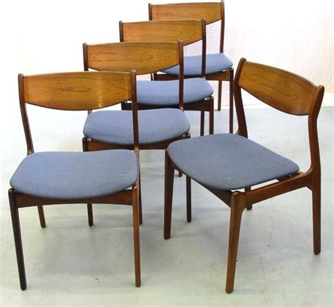 rosewood dining chairs with blue upholstered seats
