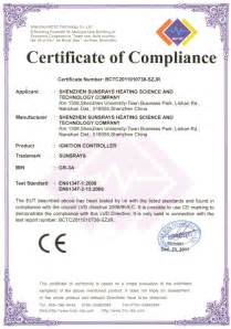 certificate of manufacture template certificate of compliance shenzhen sunsrays heating