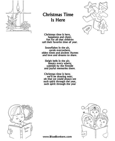 printable version christmas carol printable christmas carol lyrics sheet christmas time is