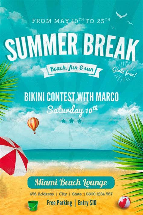 template flyer beach ffflyer summer break flyer template download summer
