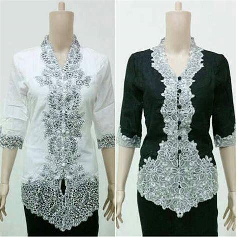 Blouse Batik Hitam Putih jual kebaya blus kartini bordir hitam putih maheswari