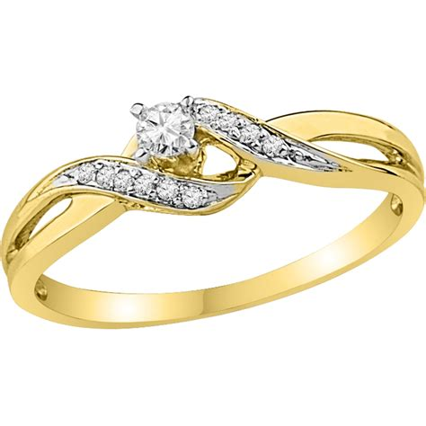 10k yellow gold 1 8 ctw promise ring promise